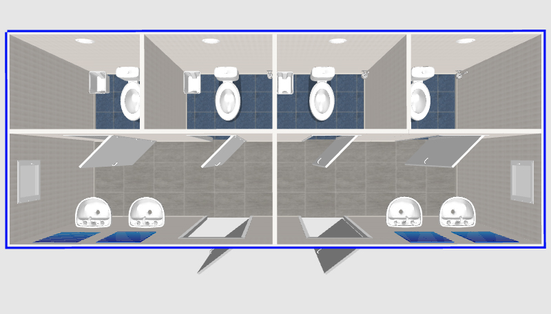 Туалеты с умывальниками 6х2,4
