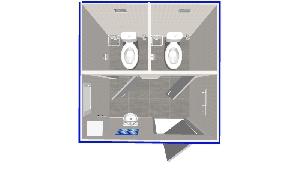 Туалет 2х2м, с умывальником, двухместный