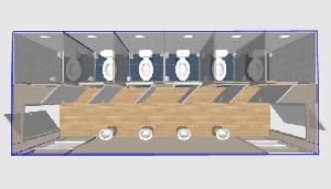 Санузел многоместный с умывальниками 6,0х2,4м