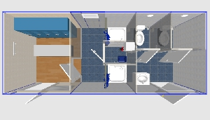 Душевая двойная с туалетами и раздевалкой 6,0х2,4м