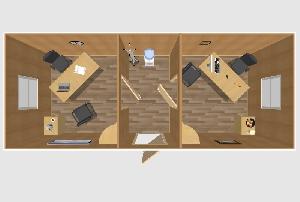 Офис двухкомнатный с тамбуром 6,0х2,4 м